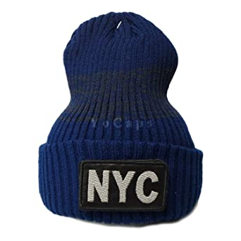 5123de4f55e NYC New York City Hat Patch Embroidered Long Knit Beanie Navy ...
