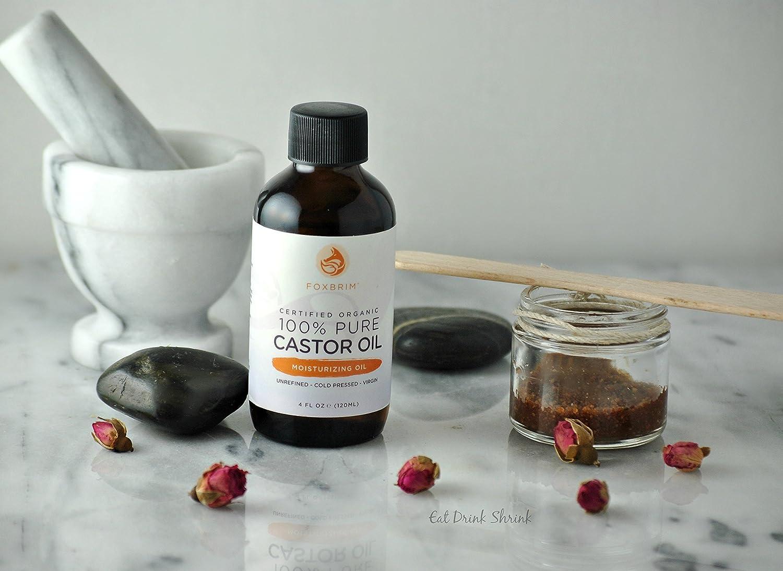 Foxbrim - Aceite de castor Foxbrim - 100 % puro, orgánico, certificado - Virgen - Prensado en frío - Beneficios para el pelo, la piel y las uñas ...