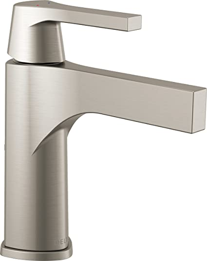 Delta Faucet Zura Single Hole Bathroom Faucet Brushed Nickel Single Handle Bathroom Faucet Diamond Seal Technology Metal Drain Assembly Stainless 574 Ssmpu Dst