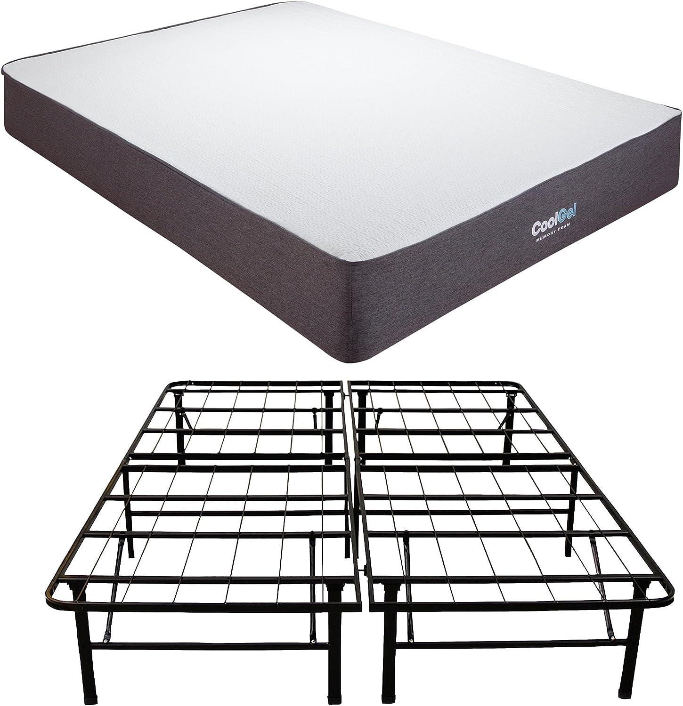 Classic Brands Cool Gel Ventilated Memory Foam 10.5-Inch Mattress with Hercules 14-Inch Heavy-Duty Metal Platform Bed Frame - California King