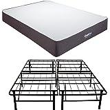 Classic Brands Cool Gel Ventilated Gel Memory Foam 10.5-Inch Mattress with Hercules 14-Inch Heavy-Duty Metal Platform Bed Frame, Queen