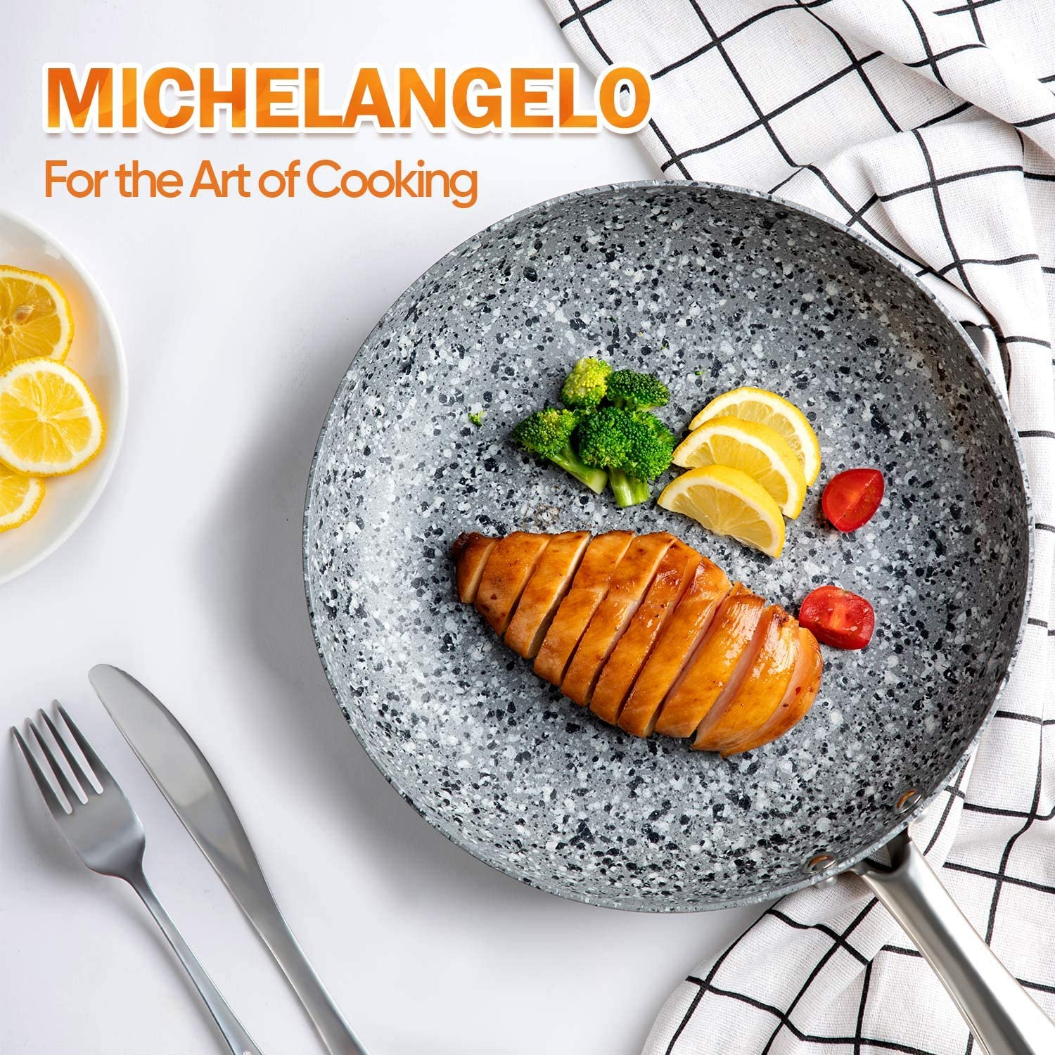"""MICHELANGELO Frying Pan Set with Lid, 8"""" & 10"""" Granite Frying Pan Set with 100% APEO & PFOA-Free Stone Non Stick Coating, Granite Skillet Set with Lid, Nonstick Frying Pans 2 Piece - 8""""+10"""": Kitchen & Dining"""