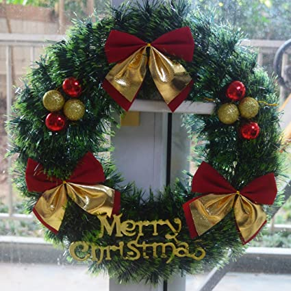Amazon.com: Christmas Wreath 15.8 Inch Merry Christmas Decorated ...