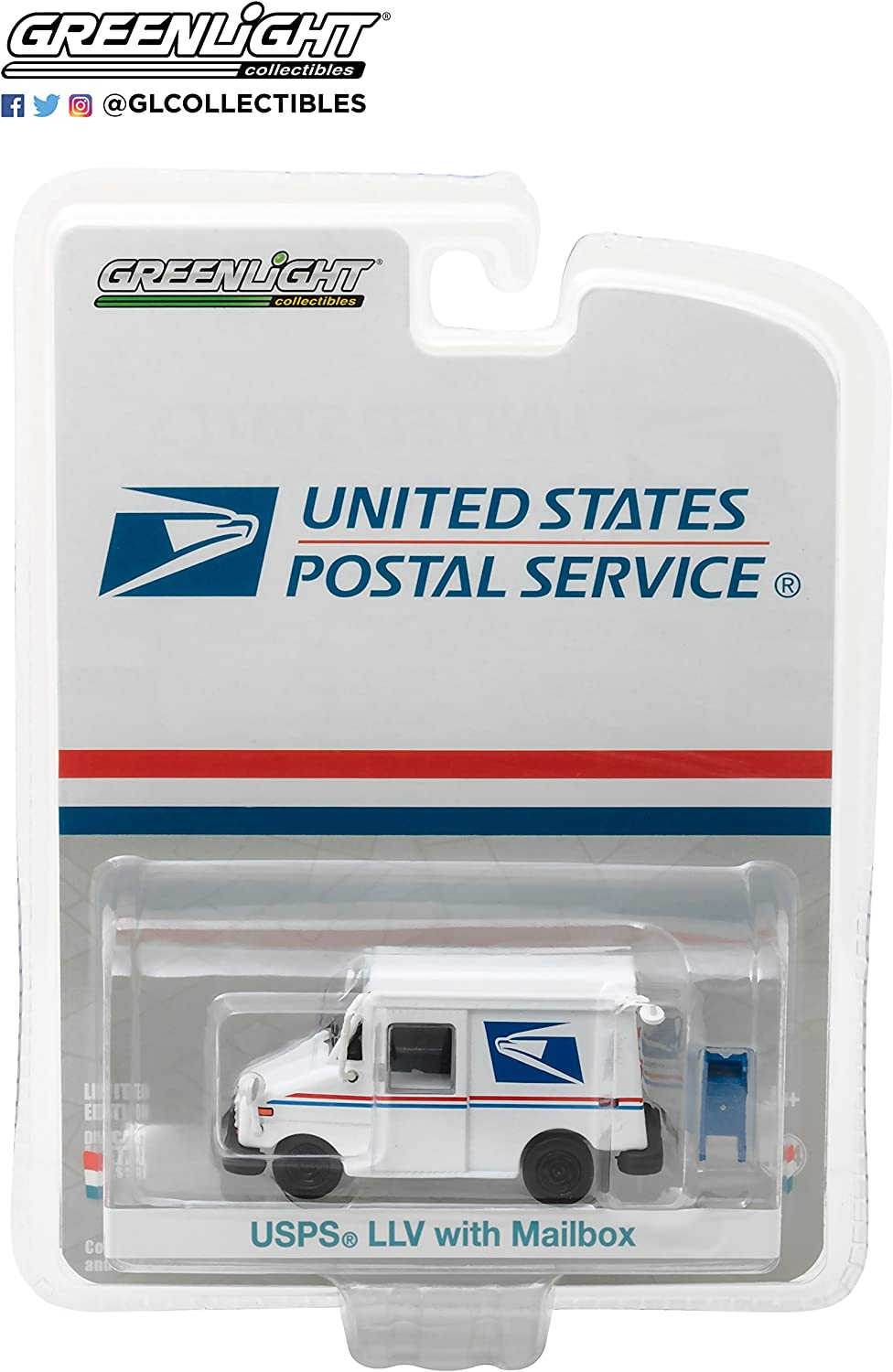 Greenlight 29888 USPS LLV Long-Life Postal Delivery Vehicle 1:64 Scale Diecast with Mailbox