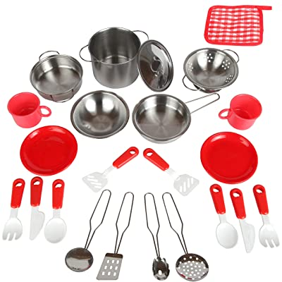 Mommy Please Play Kitchen Accessories for Pretend Food - Great Toys for Toddlers and Kids Include Stainless Steel Pots and Pans Set - Plus Bonus Dishes for Girls and Boys: Toys & Games