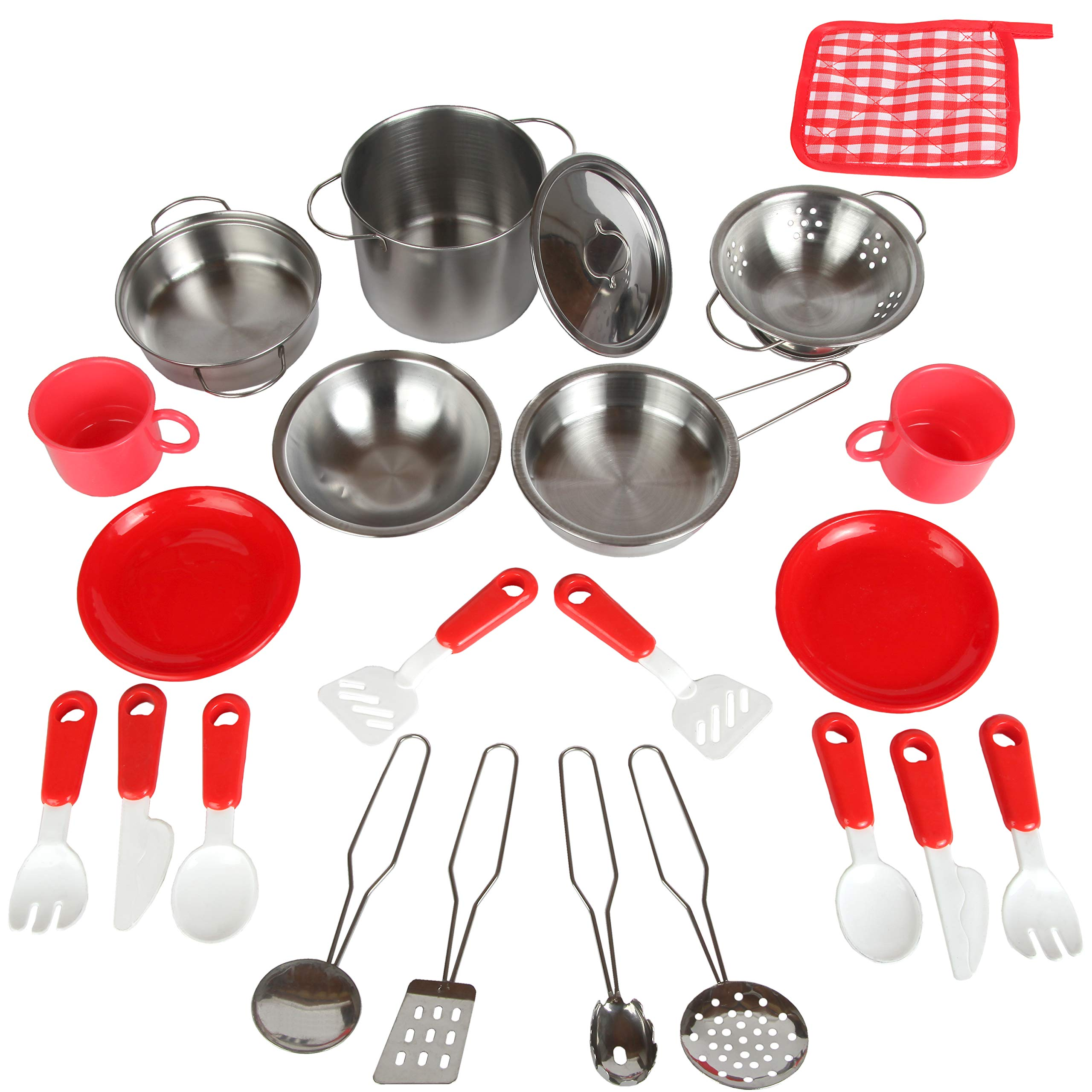 Mommy Please Play Kitchen Accessories for Pretend Food - Great Toys for Toddlers and Kids Include Stainless Steel Pots and Pans Set - Plus Bonus Dishes for Girls and Boys by Mommy Please