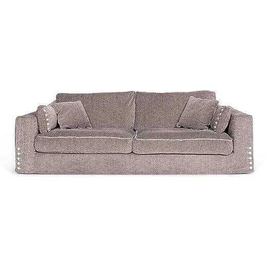 Roche Bobois Long Island Designer Fabric Sofa Gray Beige ...