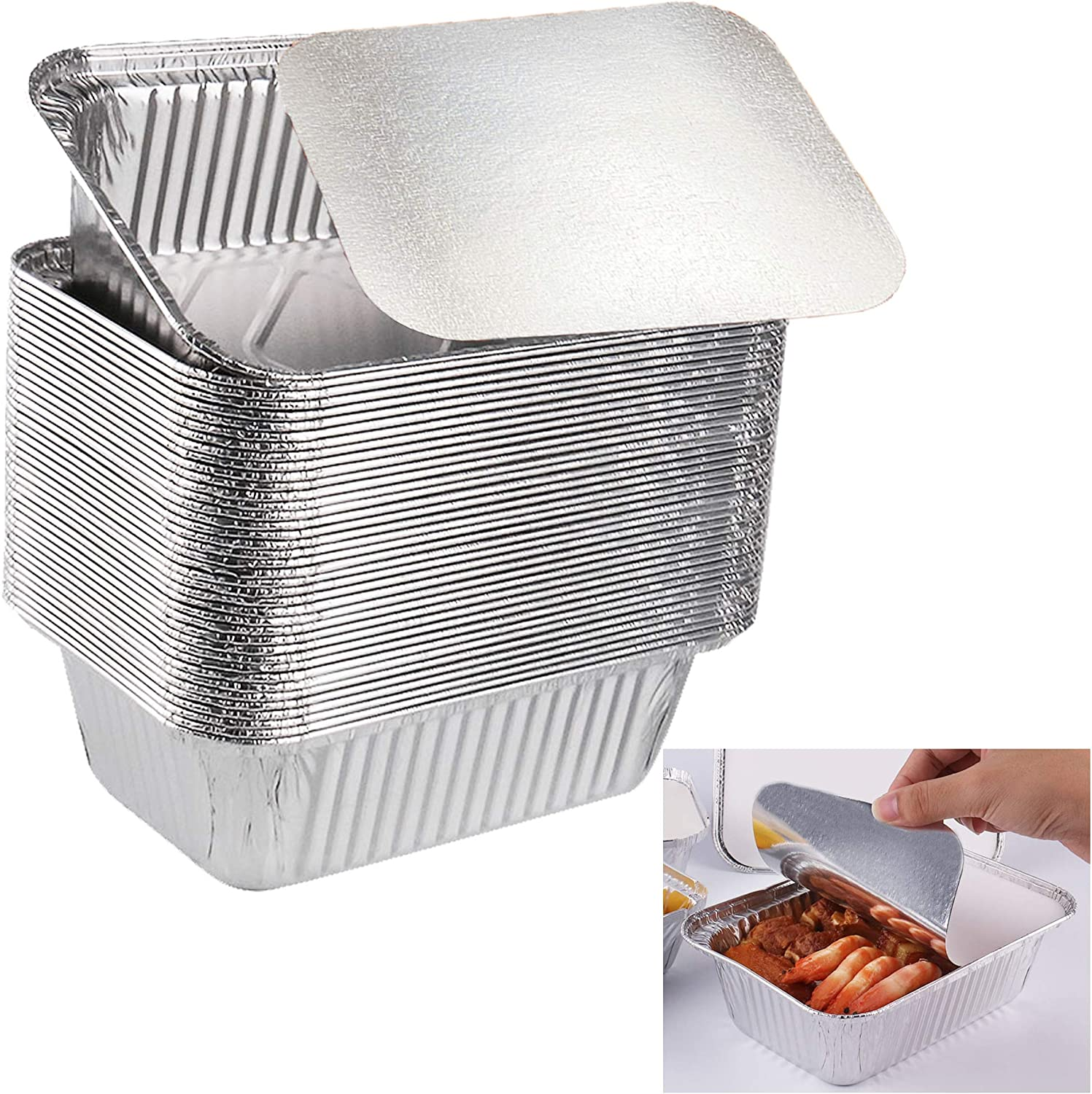 Jeasona 50 Pcs Foil Trays with Lids 500ml for Batch Cooking//Roasting//Baking//Freezing//BBQ
