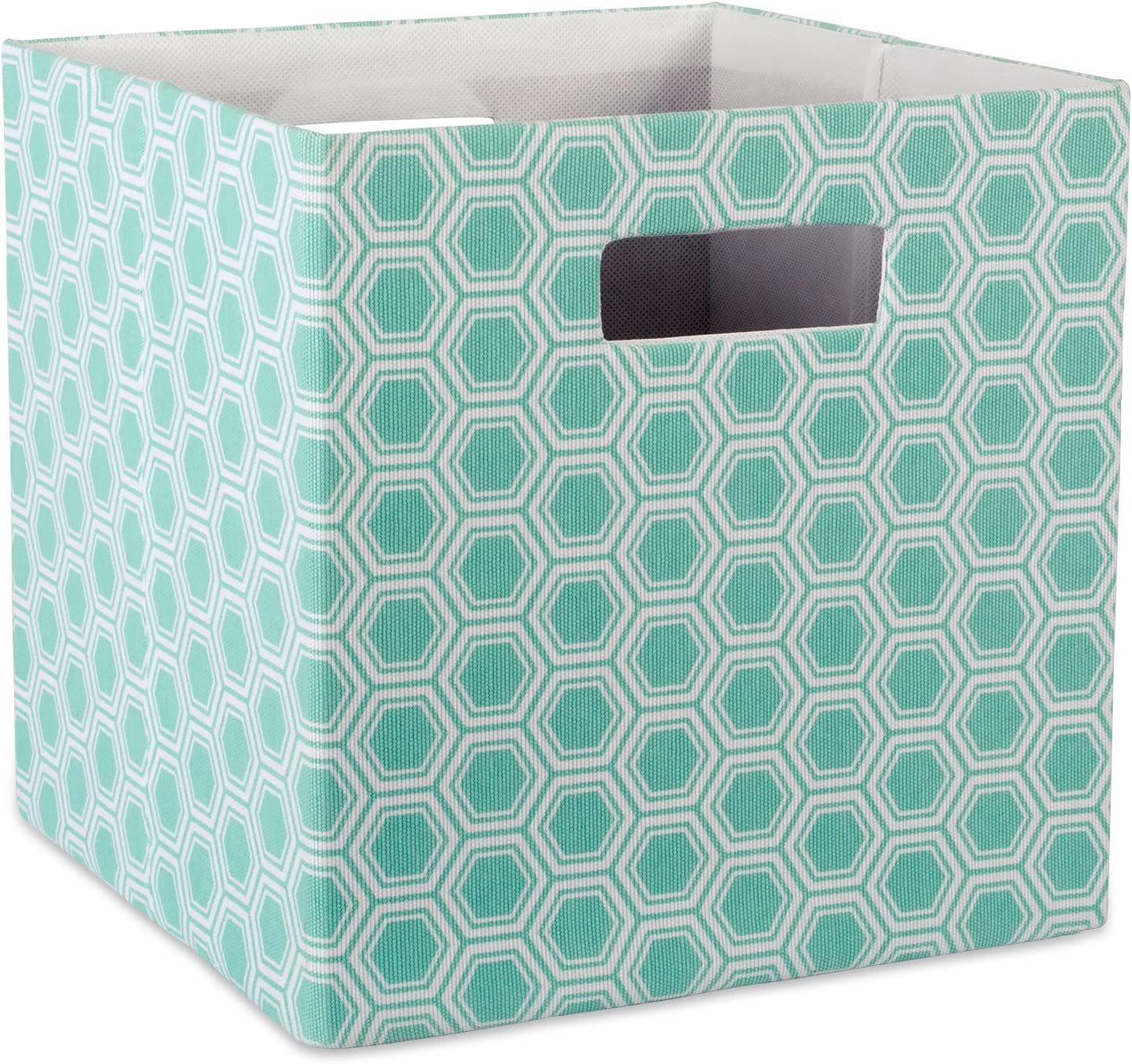 """DII Hard Sided Collapsible Fabric Storage Container for Nursery, Offices, & Home Organization, (11x11x11"""") - Honeycomb Aqua"""