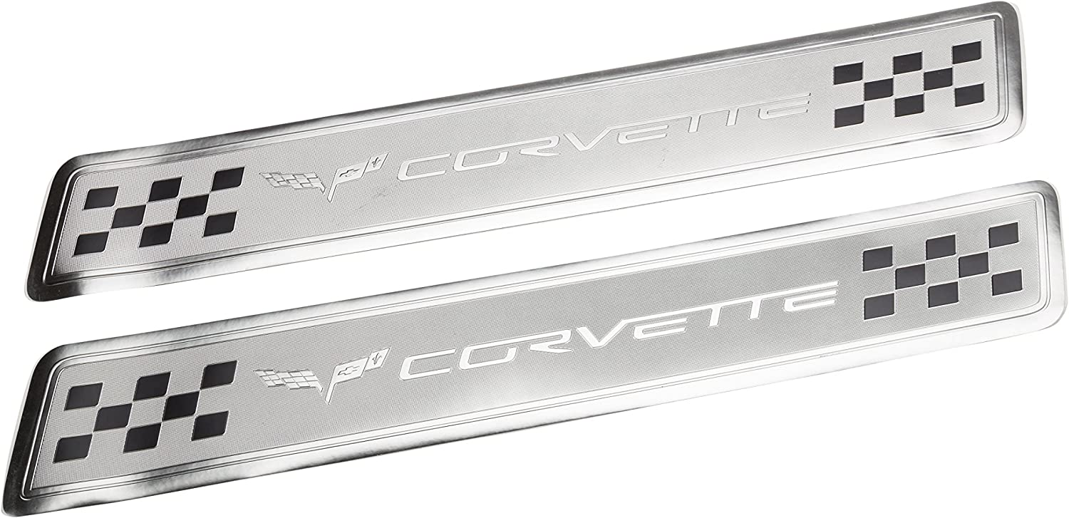 GM Accessories 92223800 Front Door Sill Plates in Black and Brushed Aluminum with Chevrolet Script