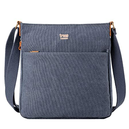 758a10c813 Troop London Classic Canvas Leather Cross-Body Bag TRP0236 Blue   Amazon.co.uk  Luggage