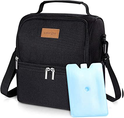 Lifewit 7L Dual Compartment Insulated Lunch Bag with Ice Pack for Adults/Men/Women/Kids, Water-Resistant Leakproof Soft Cooler Bag Thermal Bento Box for Work/School/Picnic (Black)