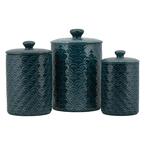 10 Strawberry Street CAN3-OCEAN-NVY Kitchen Canister Set, Set of 3, Ocean  Navy