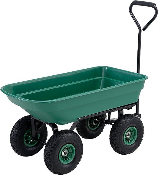 pro.tec] Carro de transporte para jardín (Capacidad 75L - 300kg) (verde) trasera abatible (eje de dirección y neumáticos): Amazon.es: Jardín
