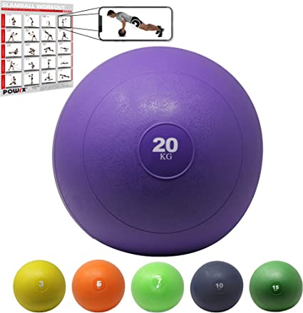 POWRX Slam Ball Balón Medicinal 20 kg - Ideal para Ejercicios de ...