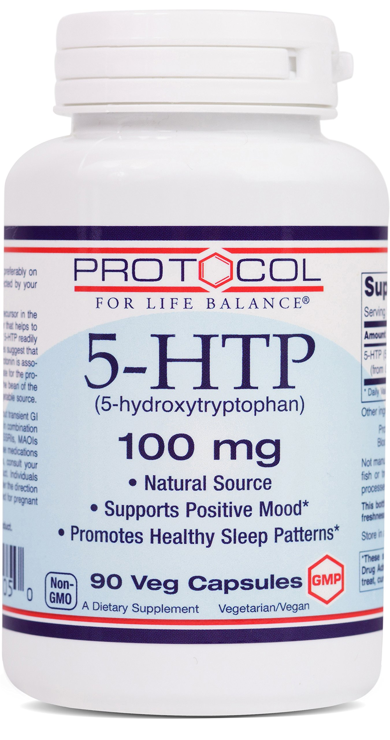 Protocol For Life Balance - 5-HTP (5-hydroxytryptophan) 100 mg - Supports Positive Mood, Promotes Healthy Sleep Patterns, Natural Weight Loss, Supports Appetite Suppression - 90 Vcaps
