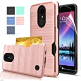 LG K20 V Case,LG K20 Plus / LG K10 2017 / LG VS501 / LG Grace / LG Harmony Case with HD Screen Protector,AnoKe [Card Slots Holder][Wallet] Plastic TPU Hybrid Shockproof Case for LG LV5 KC2 Rose Gold