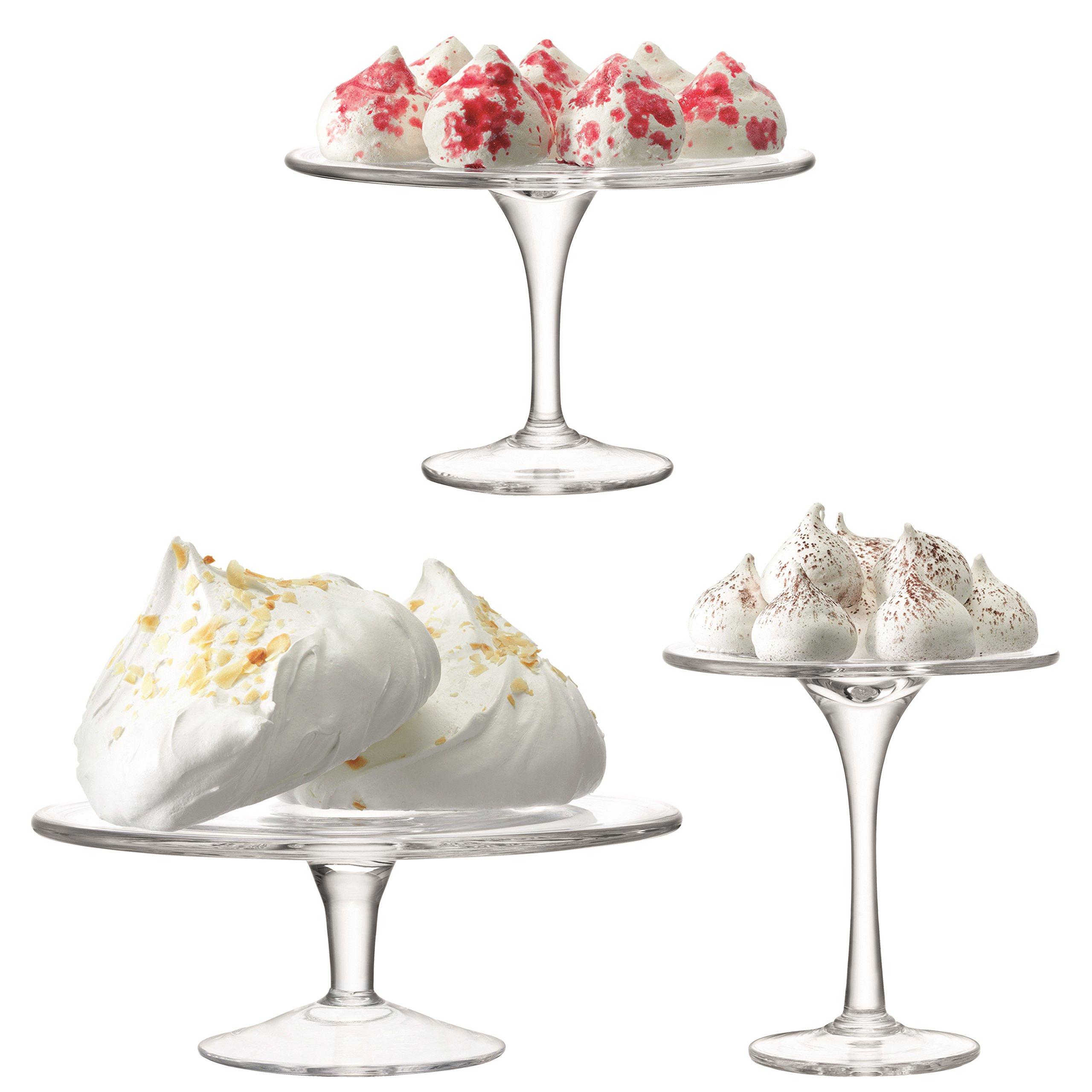 LSA International Serve Cake stand Set, 8.75''/5.5''/7'', Clear