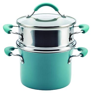 Rachael Ray Cucina Hard Porcelain Enamel Nonstick Multi-Pot / Steamer Set, 3-Quart, Agave Blue - 16799