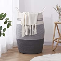"OIAHOMY Laundry Hamper Woven Cotton Rope Large Clothes Hamper 25.6"" Height Tall Laundry Basket with Extended Cotton…"