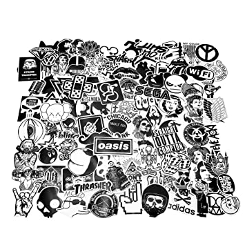Cool Stickers Black White 100pcs Vinyl Decals Vintage Retro Pop Art