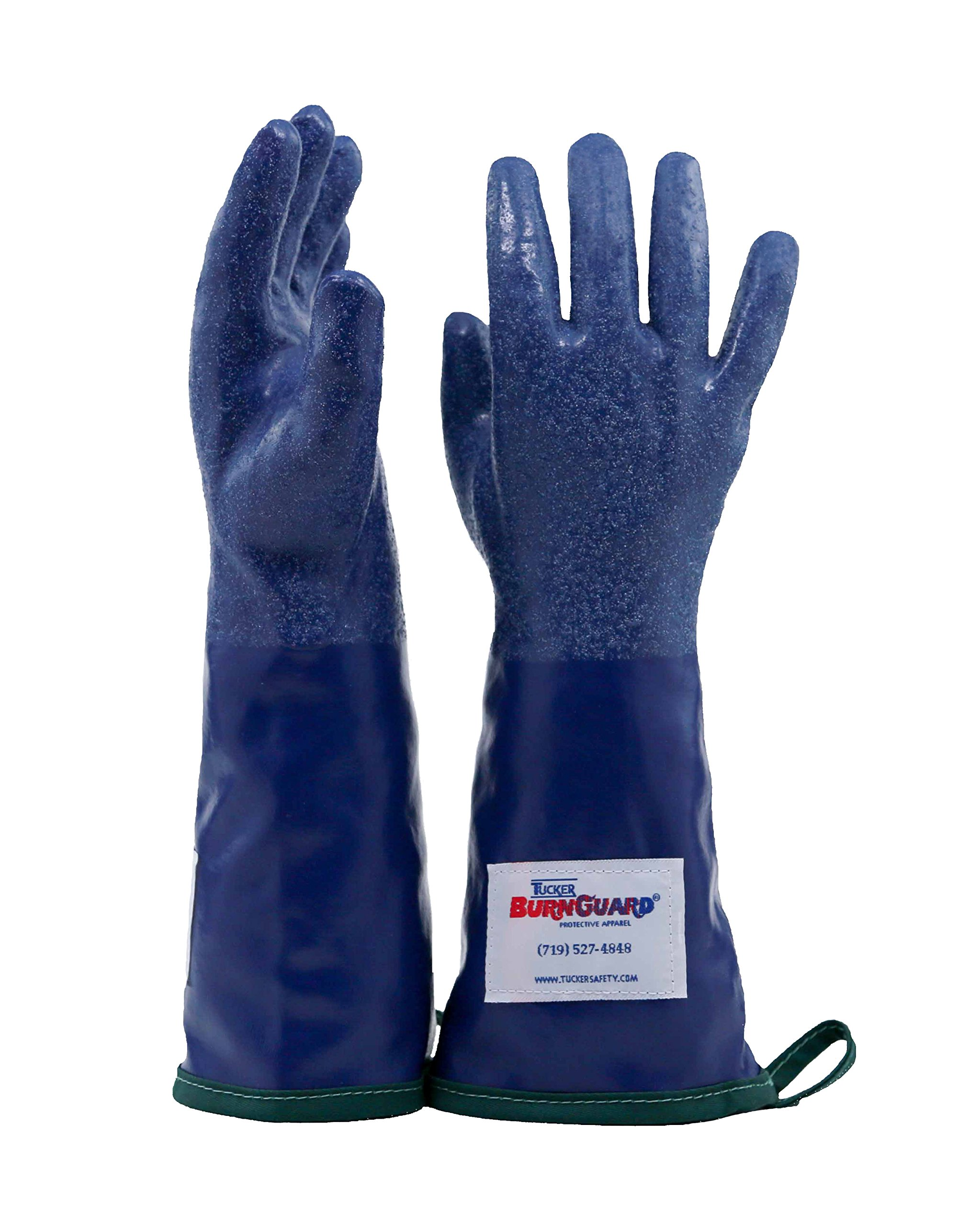 Tucker Safety 92144 Products  Tucker SteamGlove Utility Glove, Nitrile, Cotton Lined, 14'', Large, Blue