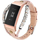 Wearlizer Compatible with Fitbit Charge 3 / Fitbit Charge 4 Bands for Women Men Leather Handmade Replacement Fit Bit…