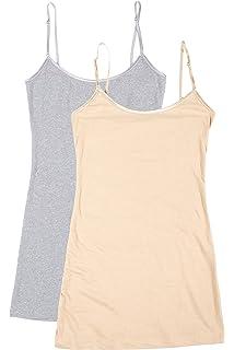 f8a06cbf6d1e59 Bozzolo 2 4 Pack Women s Junior Plus Adjustable Spaghetti Strap Long Tank  Top