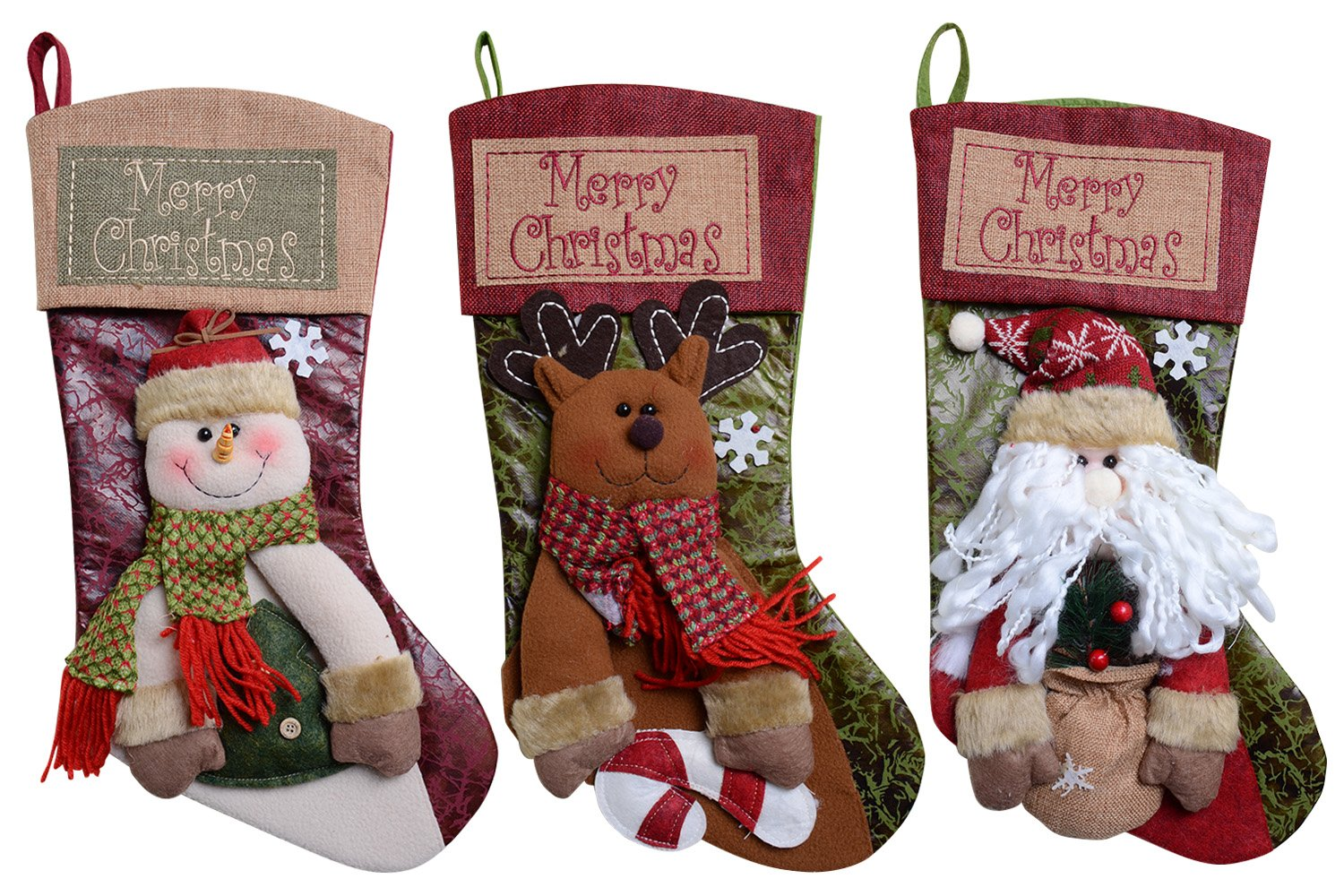 qbsm classic cute deer christmas stockings decorations stocking holders gift bag xmas character 3d plush linen