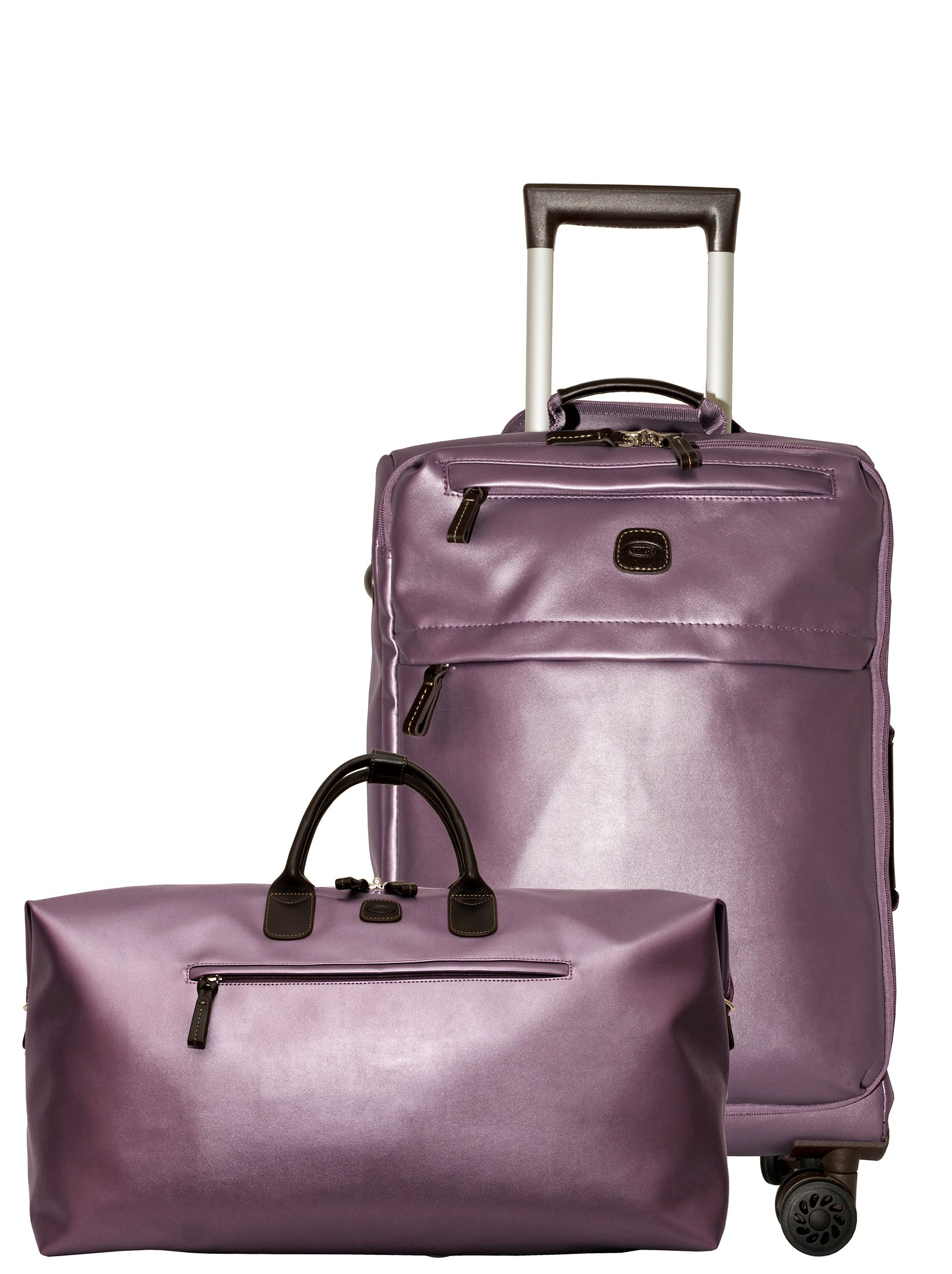Bric's X Travel 21 International Carry On Spinner and Deluxe Weekender Duffel Set (Metallic Lilac w/ Deluxe Duffle)