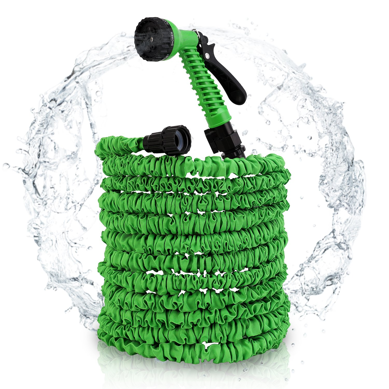 Veidoo Garden Hose,Expandable Hose,75 ft with 7 Pattern Spray Nozzle, High Pressure, Flexible for All Your Watering, Car Wash Use,shower pet (green)