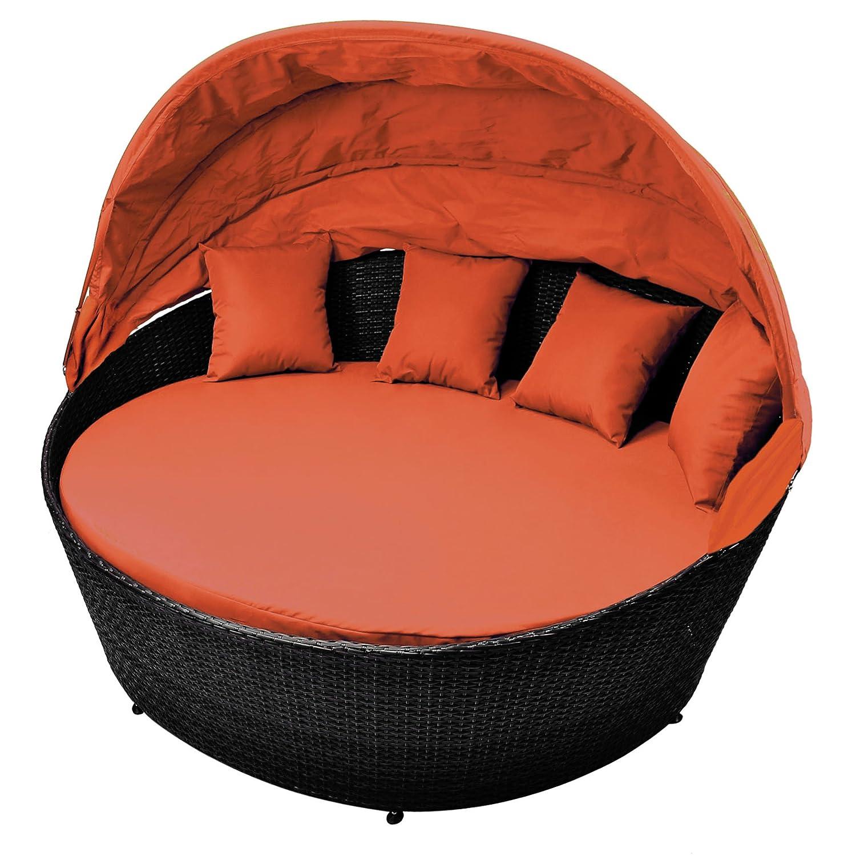 Gartenbett rattan  Amazon.de: Sonneninsel orange Rattan-Bett mit aufklappbarem ...
