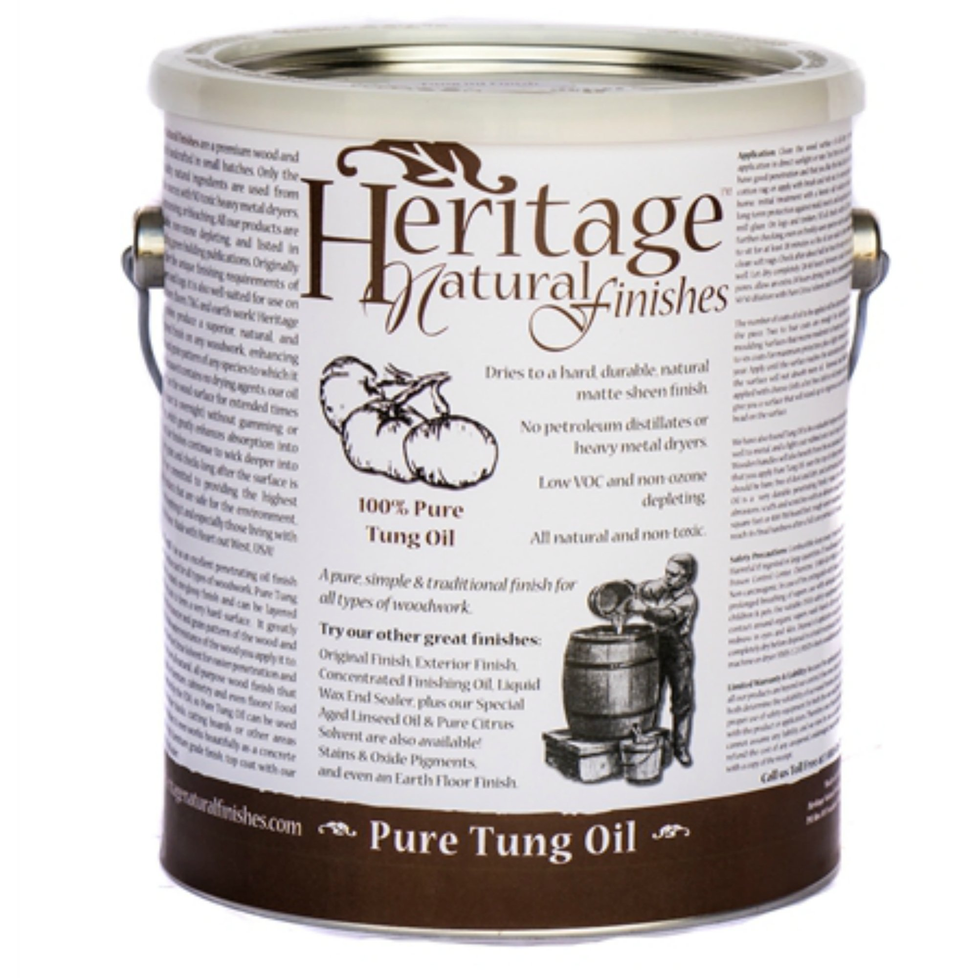 Heritage Natural Finishes – 100% Pure Tung Oil – Natural Oil Finish For All  Types of Woodwork – Approved Food Safe By The FDA (1 Quart)