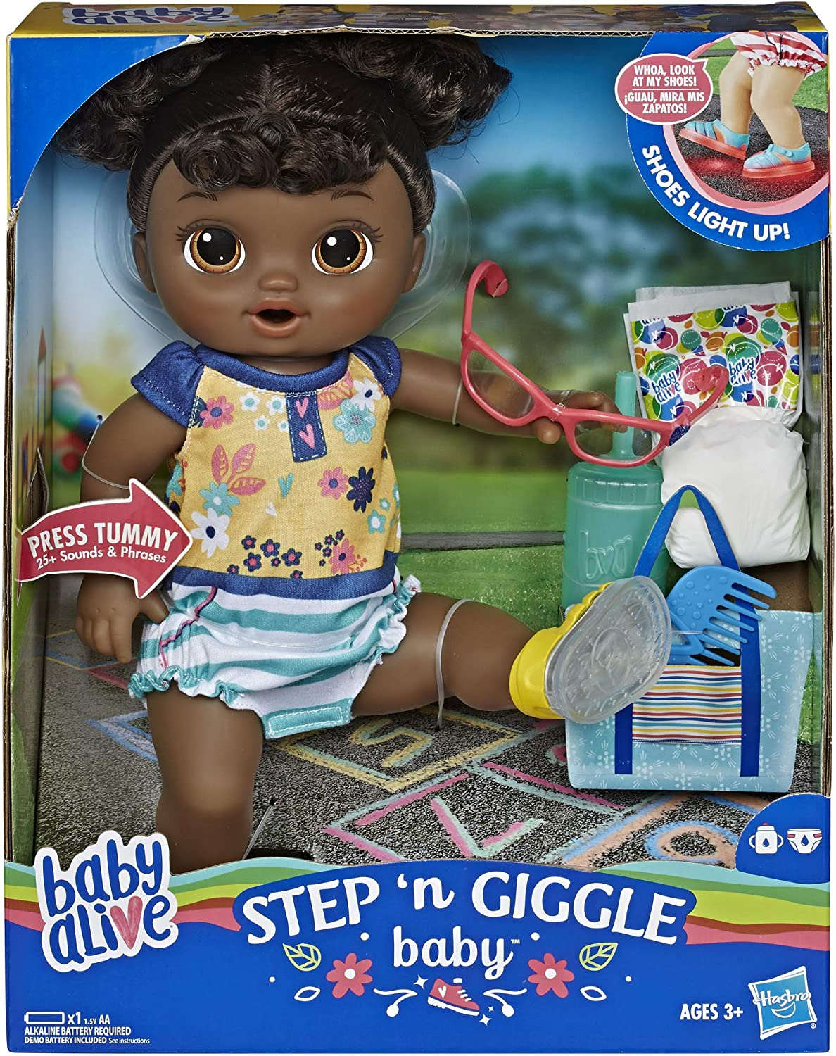 Amazon Com Baby Alive Step N Giggle Baby Black Hair Doll With Light Up Shoes Responds With 25 Sounds Phrases Drinks Wets Toy For Kids Ages 3 Years Old Up Toys