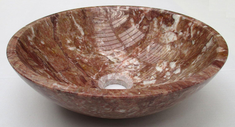 Vasque /à poser en pierre naturelle rouge en marbre rond lavabo /évier salle de bains cercle 40cm de diam/ètre x 13cm de profondeur B0066 nw