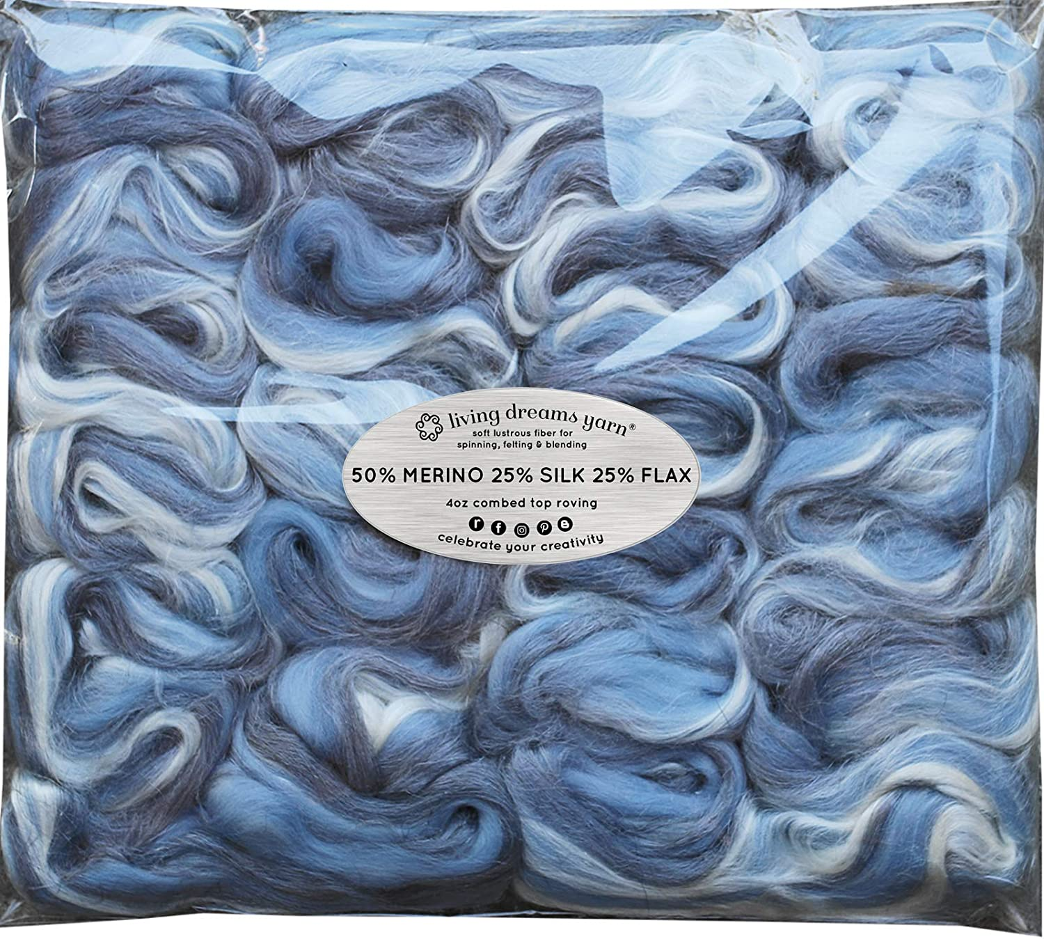 Eco-Friendly MERINO SILK FLAX for Spinning /& Felting Soft Breathable Fiber Blend Made in USA Papaya Cruelty Free /& Sustainably Harvested
