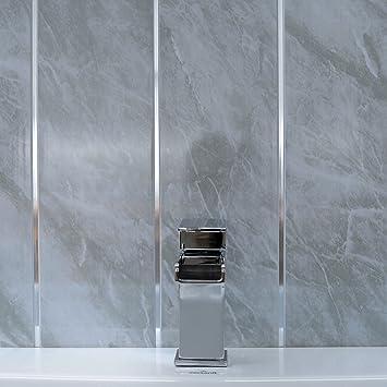20 Grau Marmor & Chrom Strip Wand Paneele Badezimmer Deckenleuchte ...