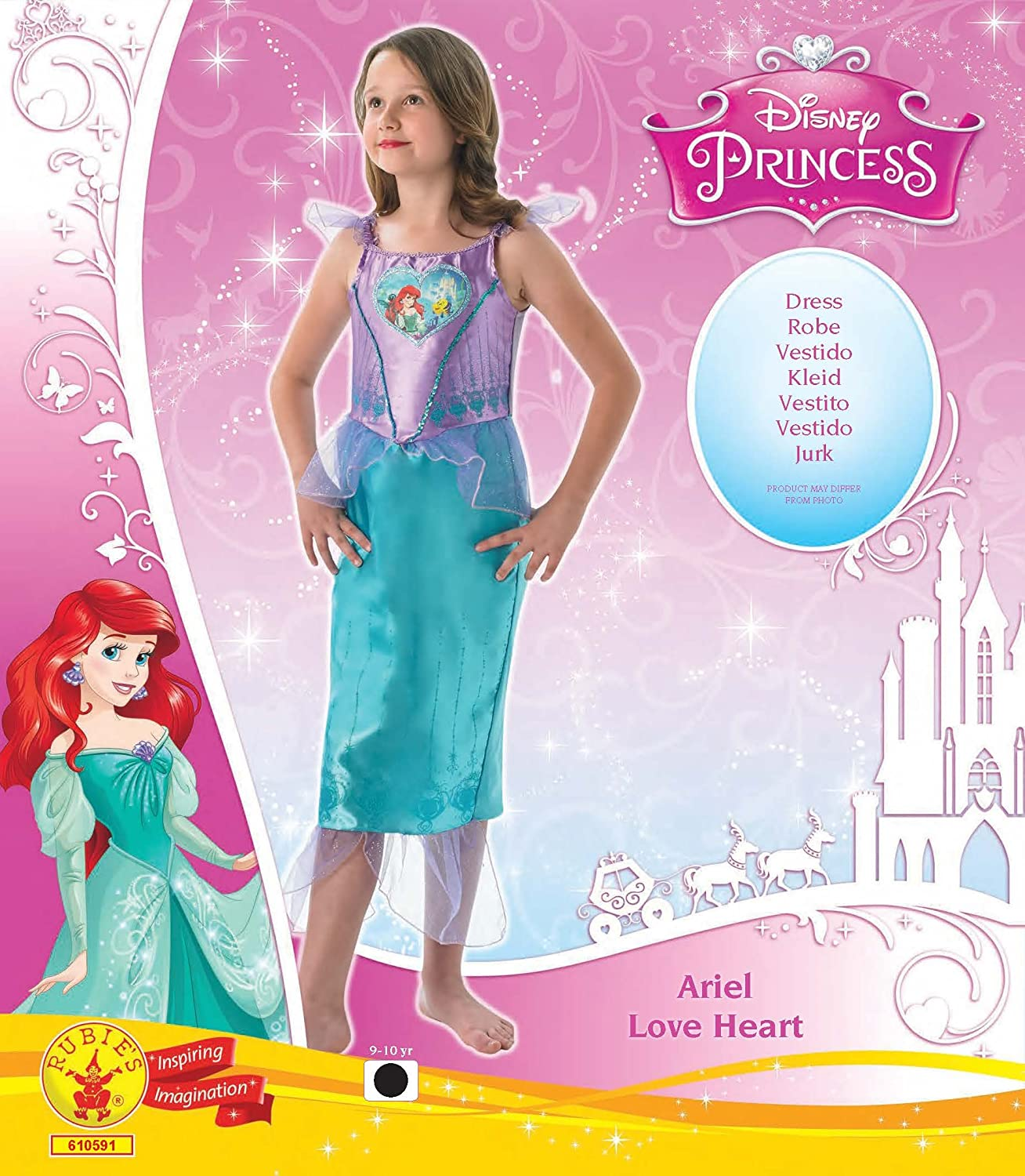Amazon.com: Rubies Big Boys Disney Princess - Ariel (Love Heart) - Costume 9/10 Years - 140cm: Clothing