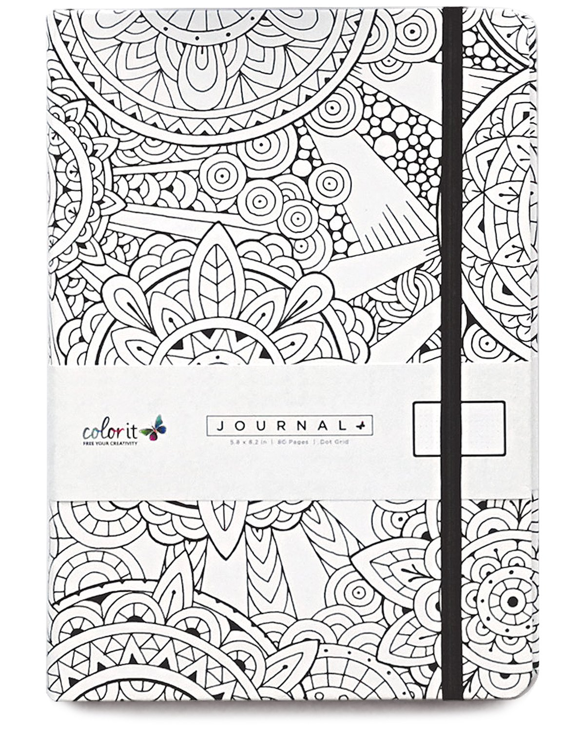 ColorIt Circle Notebook Journal 5.8 x 8.2, A5, 160 Dot Grid Pages, Hardcover, Elastic Band, Inner Pocket, Bookmark, Perforated Pages, Perfect Bullet Journal