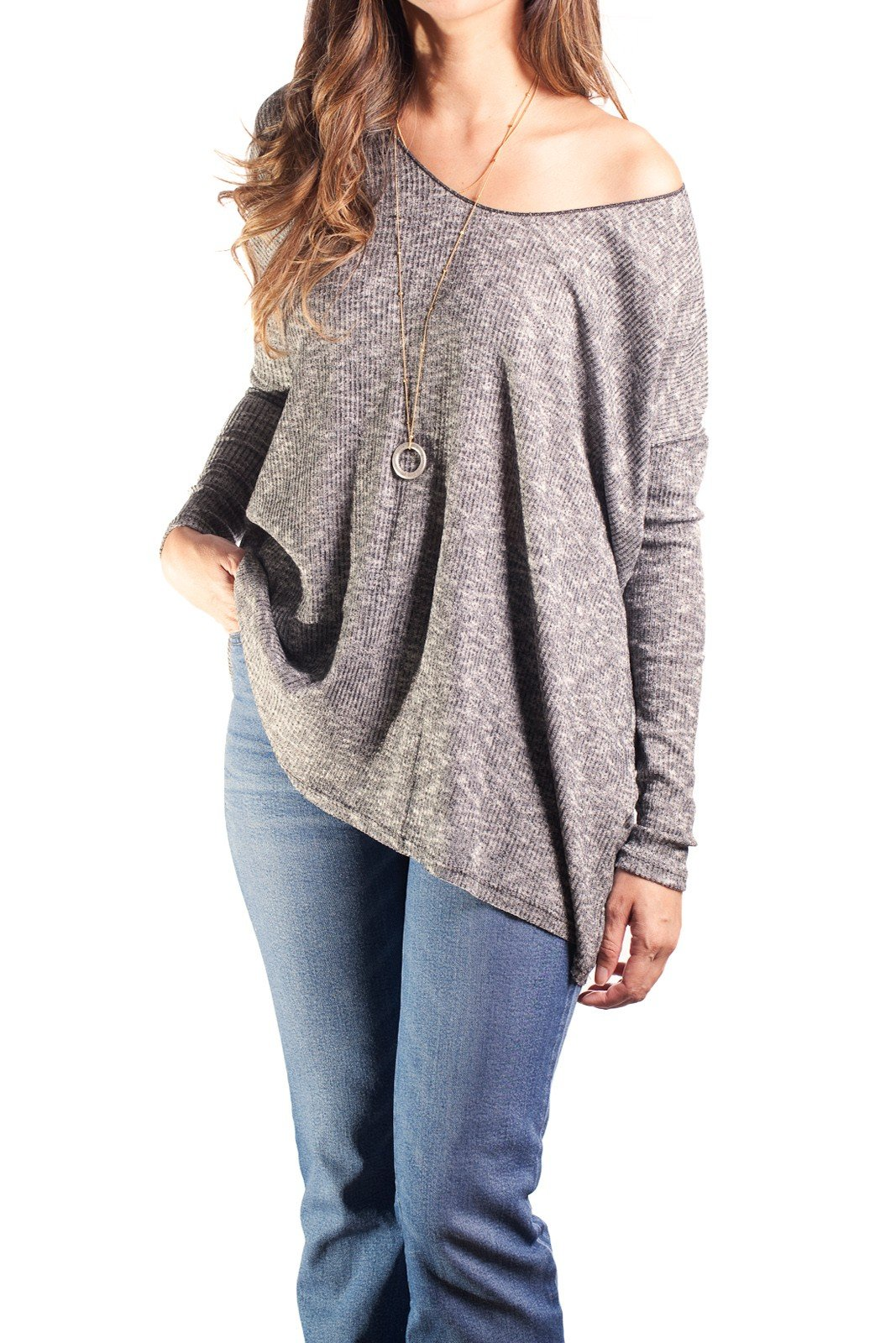 Dazly Womens Oversized Knitted Loose Lightweight Sweater Top Grey M