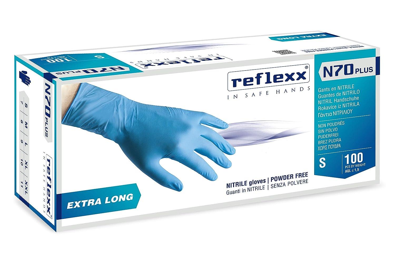 REFLEXX n70p//S Extra Lang Gr. 29/cm puderfrei Nitril Handschuhe Gr 5.8 Blau 100/St/ück