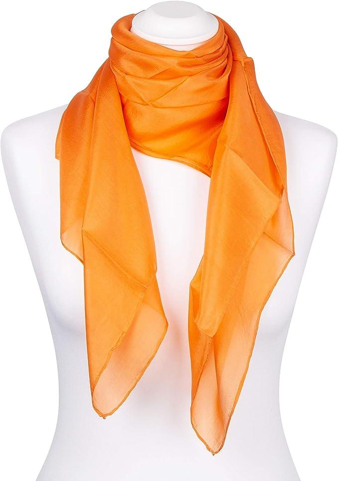 Tinitex Einstecktuch Orange reine Seide 25x25cm einfarbig uni