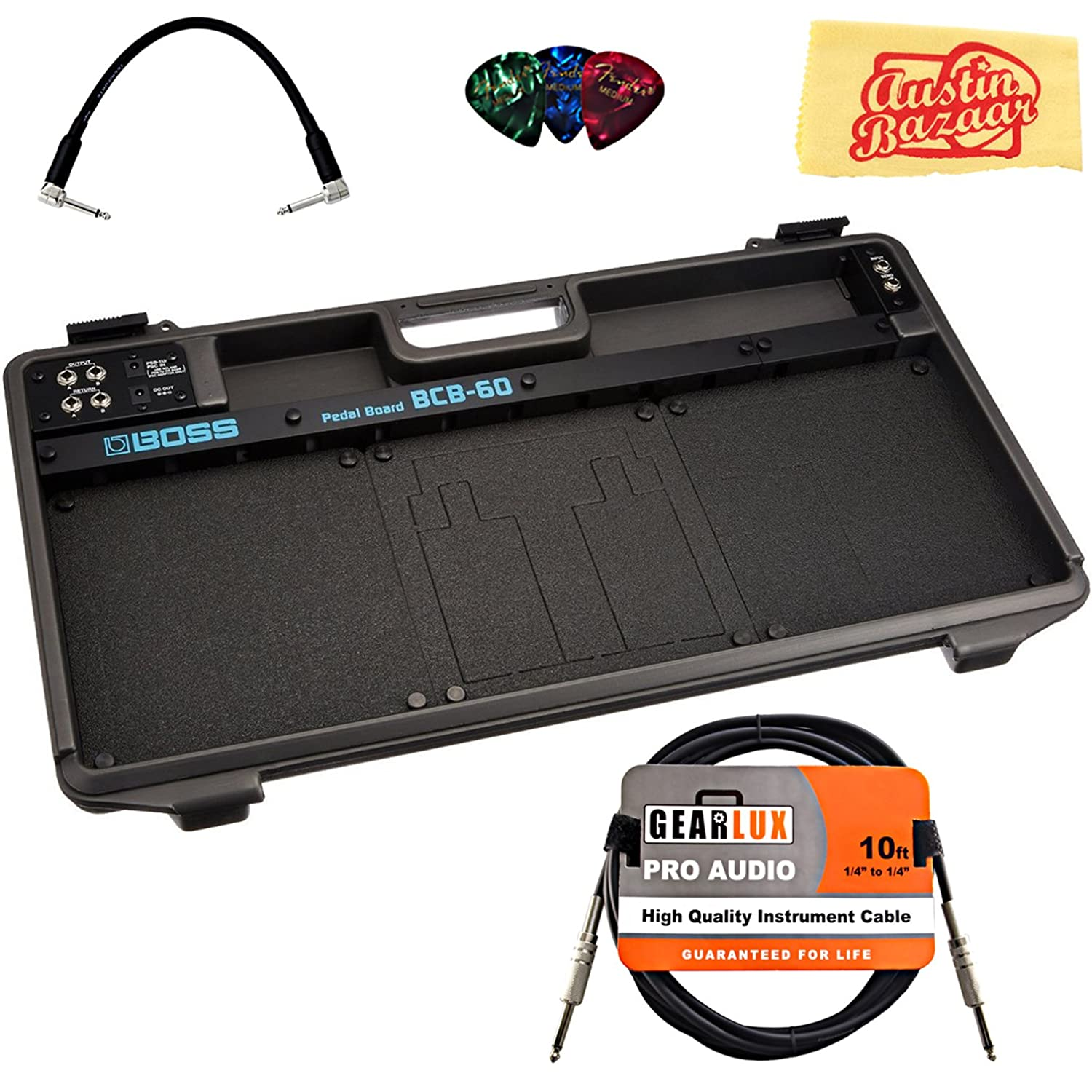 Boss BCB-60 Pedal Board Bundle with Instrument Cable, Patch Cable, Picks, and Austin Bazaar Polishing Cloth BOS-BCB60-COMBO-STD