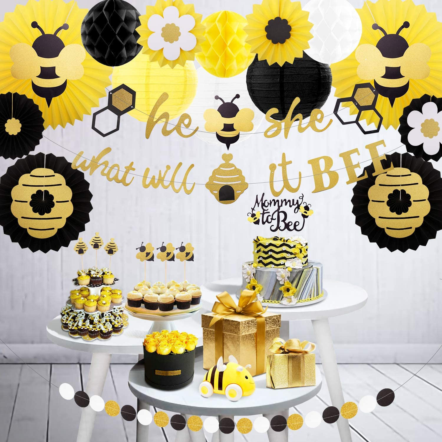 Let's Party, 24 Pcs Bee Party Decorations Theme for Gender Reveal 1st Birthday Bee Day, He or She What Will It Bee Banner, Bumblebee Baby Shower Hanging Glitter Paper Fans Lanterns Honeycomb Orbs Circle Dot Garland Banner Cake Topper in Black Yellow and Gold Colors Supplies Kit