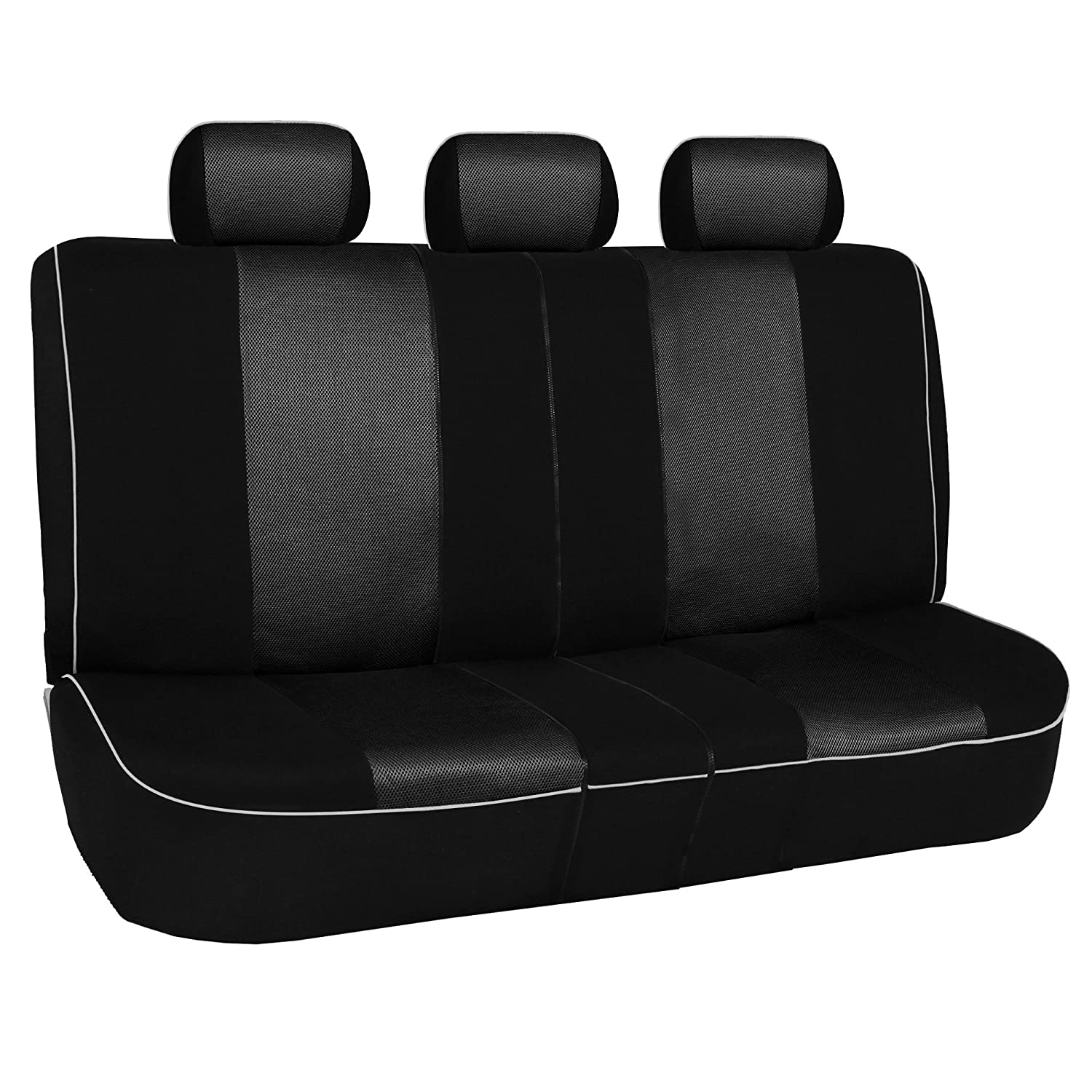 SUV Truck FH Group FH-FB063217 Three Row Cloth Car Seat Covers with Piping Airbag /& Split Ready Beige//Black- Fit Most Car or Van