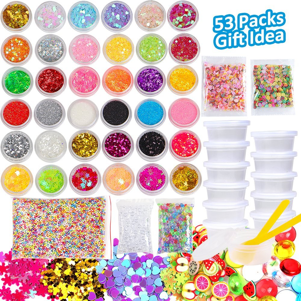 Slime Supplies Kit 53 Pack Slime Making Supplies, Include Slime Glitter Jars, Foam Balls, Fishbowl Beads, Fruit Cake Slices, Slime Containers, Slime Accessories for Slime Art DIY Craft by INFELING