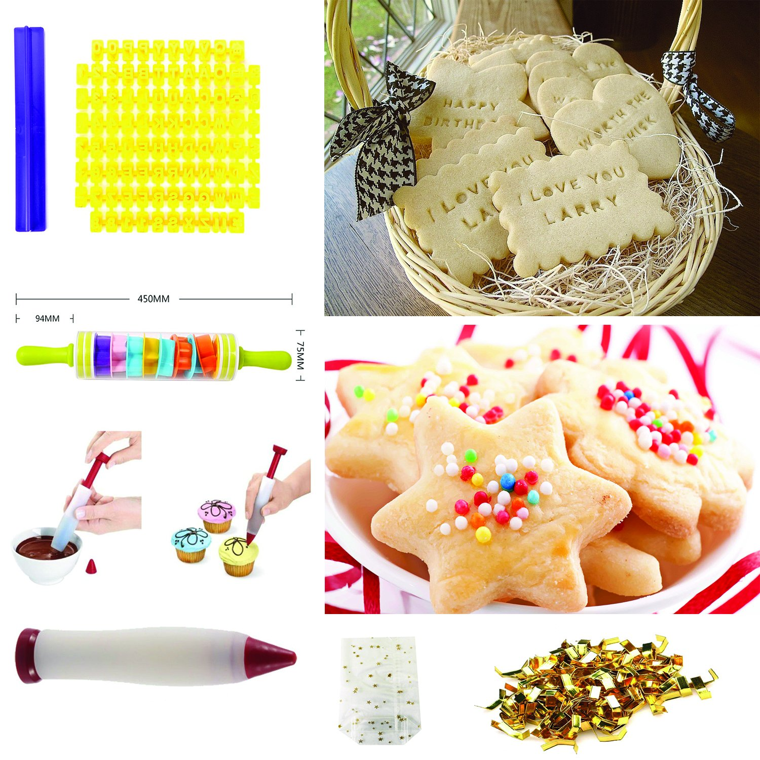 Cookiepro Festive Edition - 231pcs Cookie Biscuit Cutter + Stamp Set With 6pcs Xmas Stampers + decorating icing pen + Rolling pin + Alphabet& Number Stamps + Icing Piping Syringe With Nozzles and more by Terraberk (Image #5)