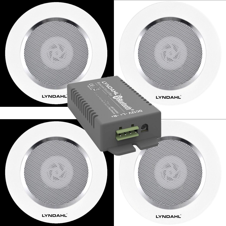 Lyndahl Juego de Altavoces, Amplificador Bluetooth de 4 Canales CS200BT-AMP y Altavoces de 2 vías CS120AL, con 2 o 4 Altavoces incorporados, Altavoces para Montaje en Techo con 4 Altavoces