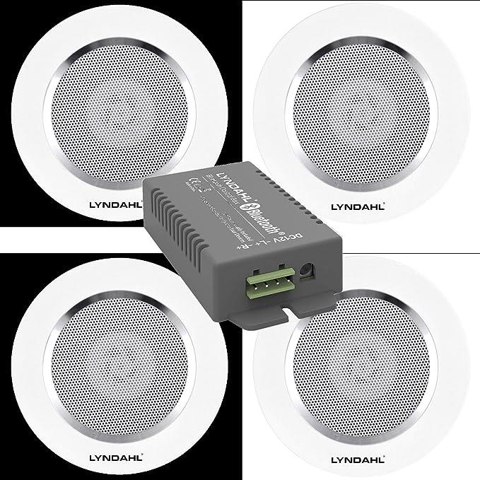 Lyndahl Juego de Altavoces, Amplificador Bluetooth de 4 Canales CS200BT-AMP y Altavoces de 2 vías CS120AL, con 2 o 4 Altavoces incorporados, Altavoces ...