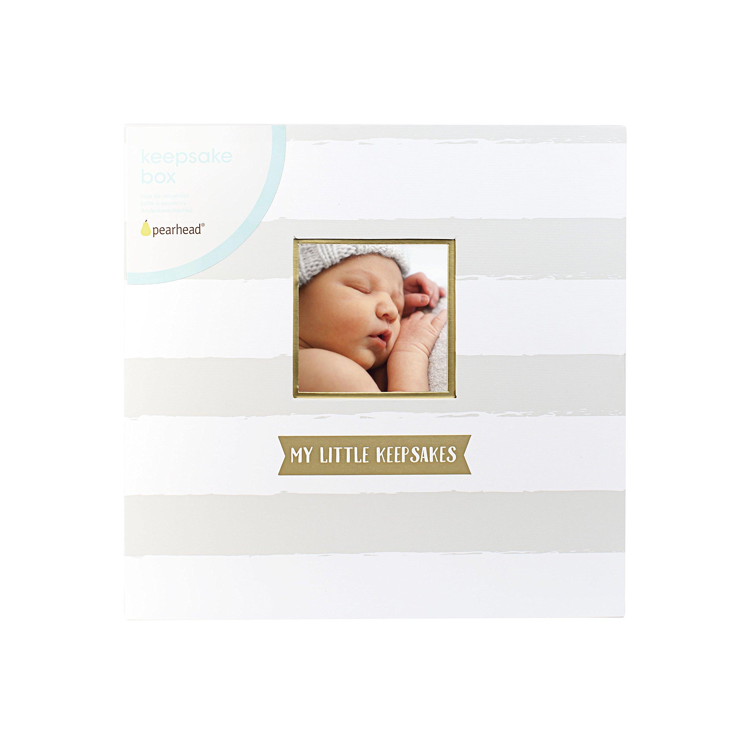 Pearhead Baby Keepsake Gift Box, Gray/White